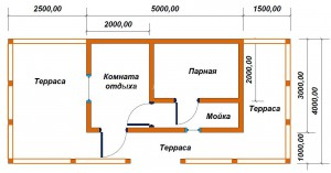 проект бани 3х5 с террасой
