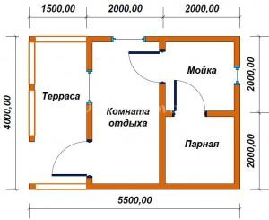 проект бани 6х6 с террасой