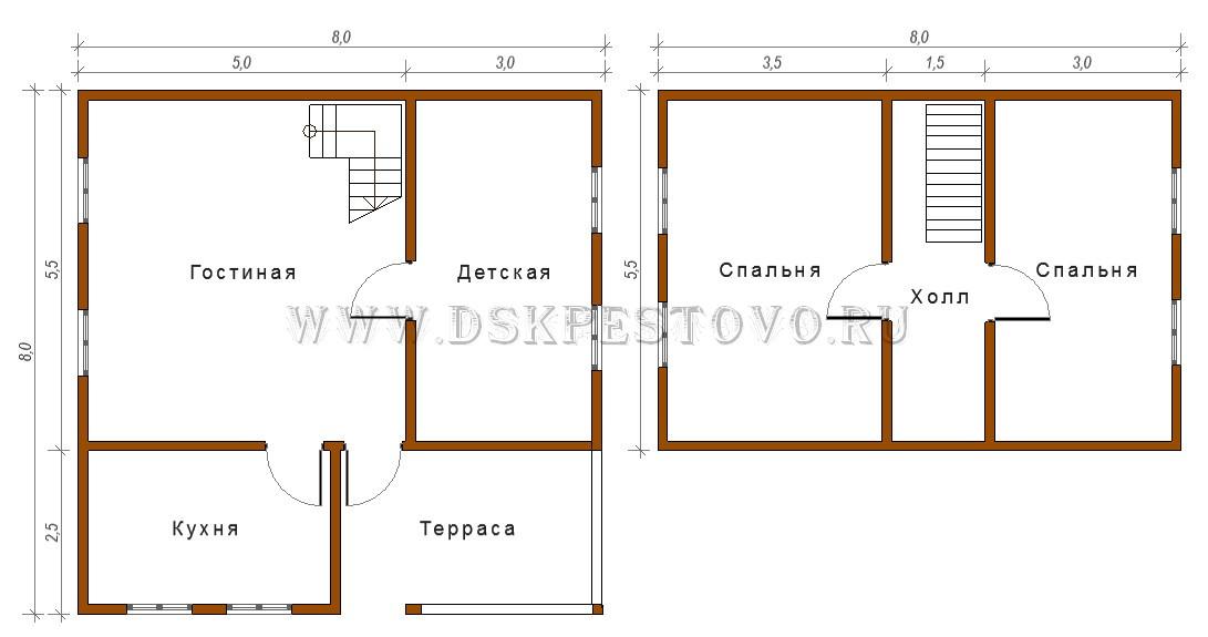 Дом 8х8 одноэтажный своими руками 11