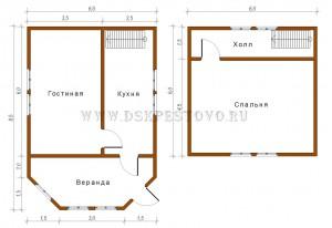 проект дома 6х6 с верандой