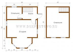 проект дома 6х6 с мансардой и верандой