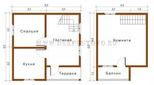 проект дома 6х6 с террасой